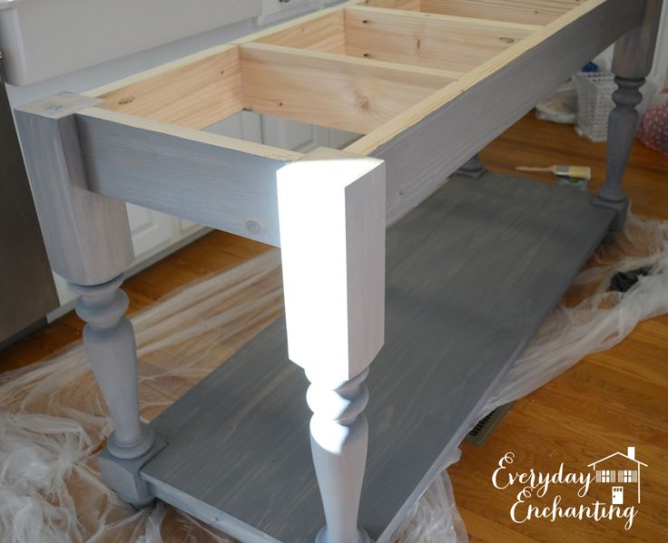 Build Your Own Kitchen Island | ... very lightly dry brushed the entire island with white satin paint