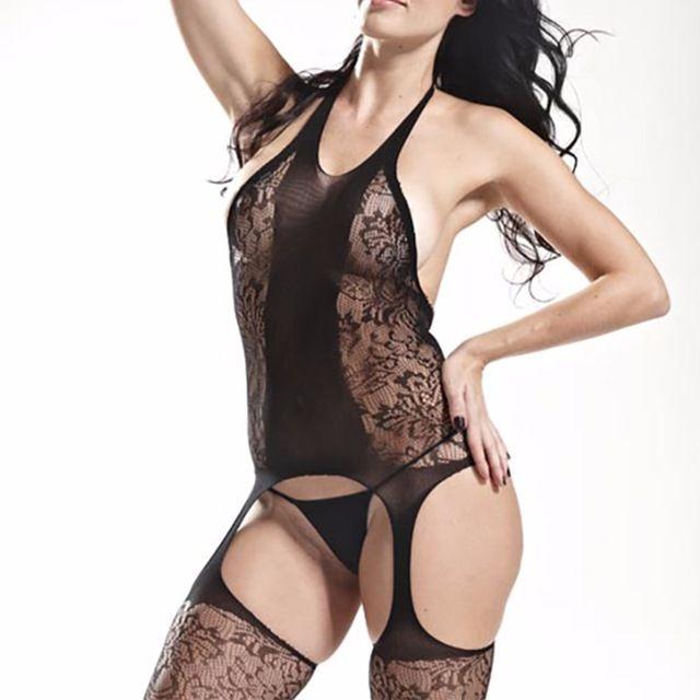 Ishine 2017 New Hot Kobiety Bielizna Erotyczna Sexy Czarne Nylonowe pończochy do Pończoch Sheer Kabaretki Otwórz Crotch Kombinezon Piżamy