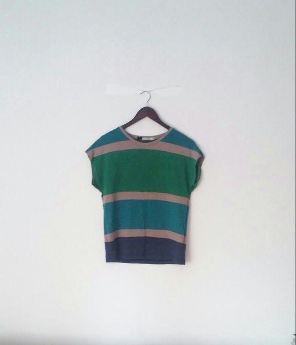 Bluzka w niebiesko szaro zielone paski