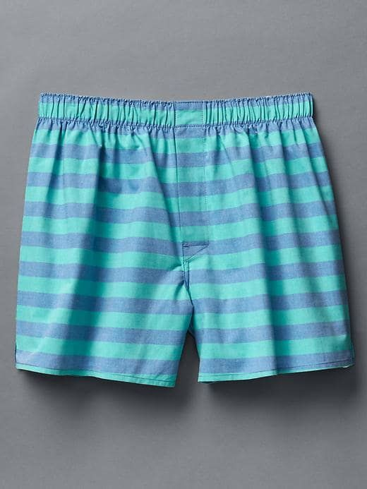 Gap Mens Solid Stripe Boxers Green Mirage