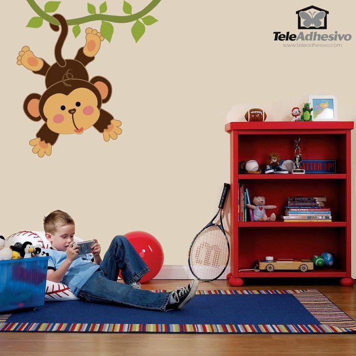 Vinilos Infantiles: Mono colgado en la liana 1
