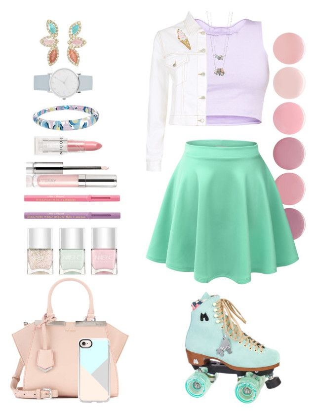 """Pastel Roller Skating"" by allyssister on Polyvore featuring Deborah Lippmann, Moxi, LE3NO, Fendi, Maje, Celebrate Shop, A.X.N.Y., Alexis Bittar, LC Lauren Conrad and Casetify"
