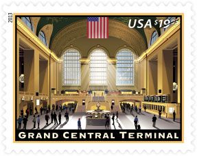 ♥ ◙ U.S.A. $19.95 Express Mail Stamp 2013 - Grand Central Terminal♥ (One of the stamps on Jill's package today.) (I didn't even know they had a stamp that was this much.). ◙