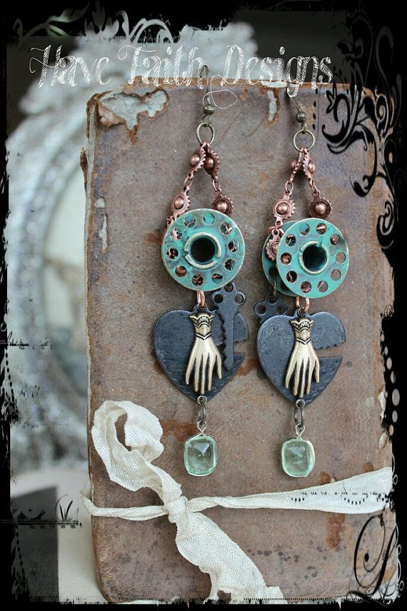 Eclectic Victorian earrings by HaveFaithDesigns on Etsy