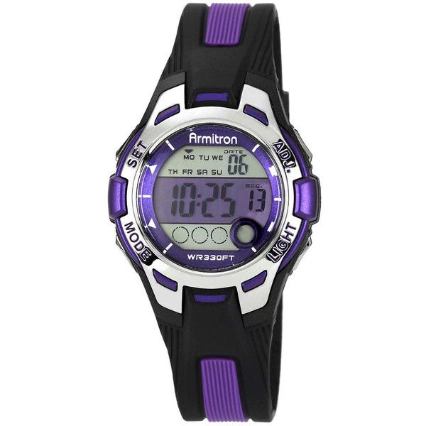 Armitron Pro-Sport Womens Black/Purple Resin Strap Chronograph Sport... ($34) ❤ liked on Polyvore featuring jewelry, watches, chronograph watch, sports watches, digital chronograph watch, digital sport watches and digital wrist watch