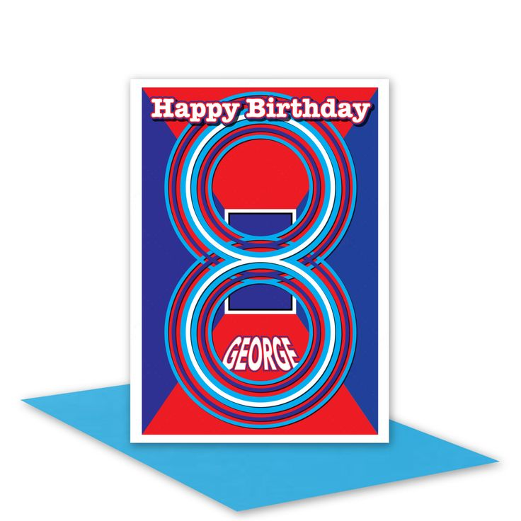 Edit name 8th Happy Birthday card for boy son nephew brother personalised name 8 birthday card blue red edit inside message envelope options - pinned by pin4etsy.com