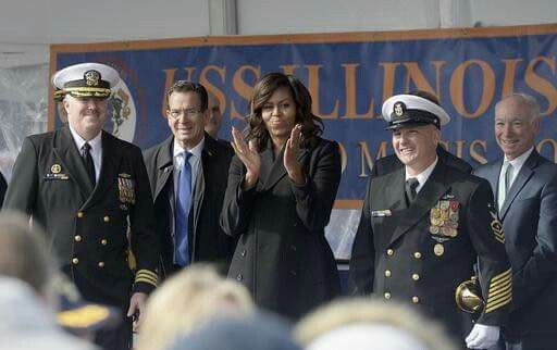 #FirstLady Of The United States 🇺🇸#MichelleObama, center, stands with, from left, USS Illinois Commanding Officer Jess Porter, Connecticut Gov. Dannel P. Malloy, USS Illinois Chief of the Boat, Master Chief David DiPietro and Rep. Joe Courtney, D-Conn. during a commissioning ceremony for the U.S. Navy attack submarine USS Illinois, Saturday, Oct. 29, 2016, in Groton, Conn. The submarine is named for Obama's home state of Illinois and the First lady is the ship's sponsor. (AP Photo/Jessica…