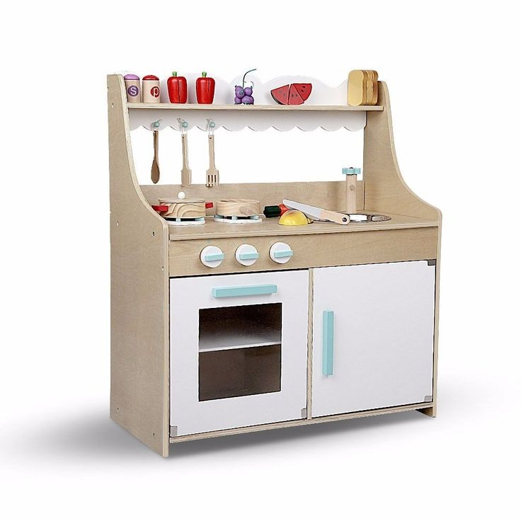 Kids Wooden Kitchen Pretend Play Set Toy Children Cooking Home Cookware Food