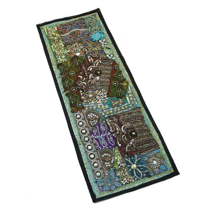 "30X10"" Indian Silk unique design Antique Home Decor & Kundan Patchwork Tapestry  #Namasteart #AntiqueStyle"