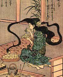 """Futakuchi-onna 二口女 Es una mujer que está afectada por una maldición convertida así, en Yōkai. Futa-kuchi-onna significa """"mujer de dos bocas"""" y de esta manera es representada, con una boca regular y otra extra en la nuca, incrustada en el cráneo, debajo del cabello. La boca en la parte posterior de la cabeza pronuncia insultos y demanda alimentos a la mujer, si ésta no es alimentada, la boca puede dar alaridos que causan un tremendo dolor en la mujer que padece la maldición. La…"""