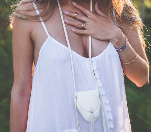 Crystal Bag with Flap - The White Collection by Sylvia Soo