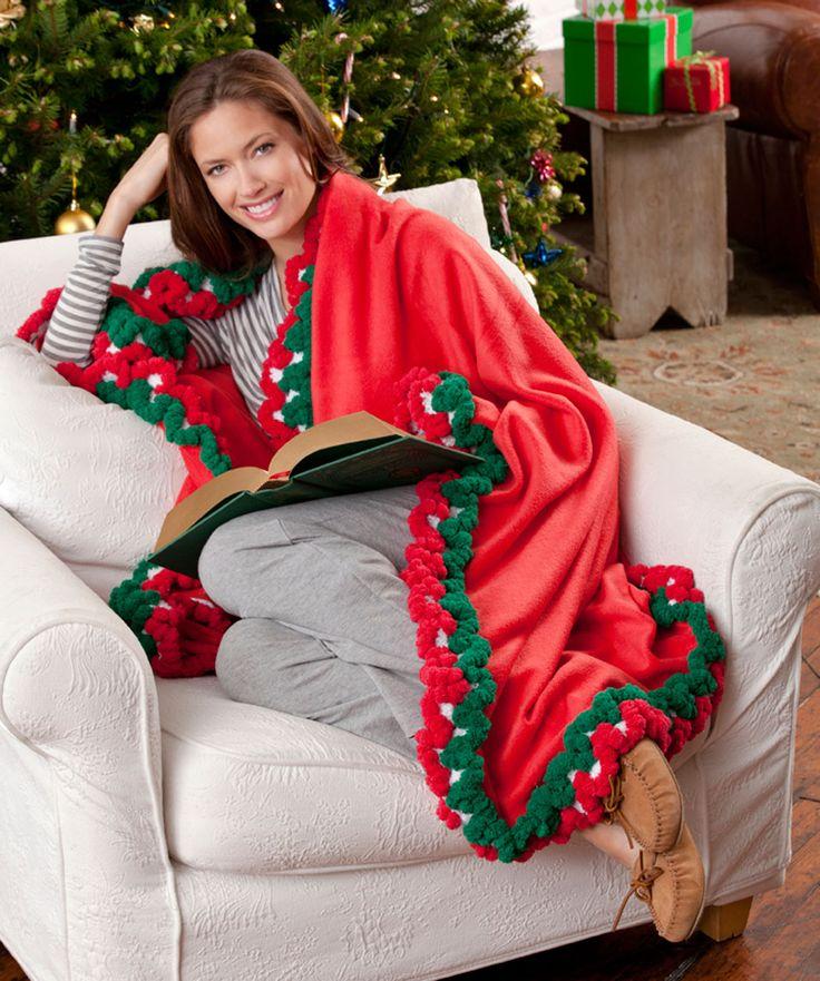 Holiday-Edged Fleece Throw