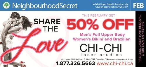 This month at Chi-Chi Laser Services get 50% off Men's Full Upper Body Women's Bikini and Brazilian. http://neighbourhoodsecret.net