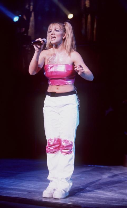 """Britney Spears performing at Universal Ampitheater for her """"Baby One More Time"""" tour in Universal City, CA. July 31, 1999.: Cafeteria, Play, Britneyspears, Baby, Photo, Britney Spears, Crop Top"""