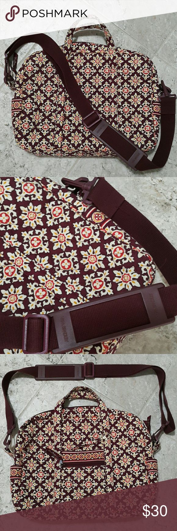 """VERA BRADLEY Laptop Bag Great condition. Long strap is adjustable 50"""".  L16"""" x H11"""" x W3"""". 1 large zipper compartment insid. 3 pockets for mouse,  note,... Inside. Outside with small zipper pocket and other pocket. Key hook. Quilted material. Soft,  safe and convenience wear. Vera Bradley Bags Laptop Bags"""