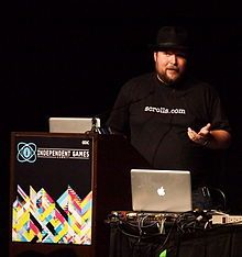 Markus Persson (born June 1, 1979), aka Notch is a Swedish video game programmer and designer and the lead designer and creative force of Minecraft from it's creation till 2011. He started programming with a Commodore 128, at the age of seven and produced his first game, which was a text-adventure game, at the age of eight.