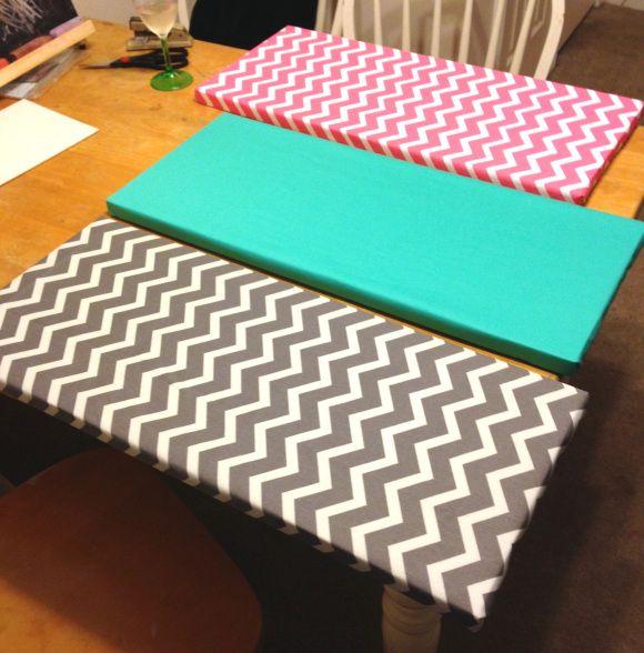 Get Crafty: DIY Fabric Wall Art, Grey Chevron Print, Teal and Pink Chevron Print