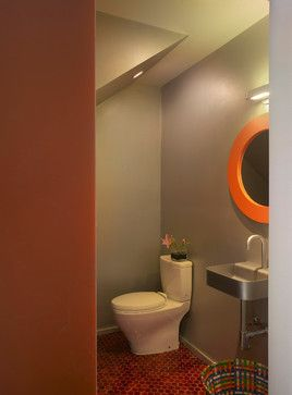 Powder Room under stairs storage Design Ideas, Pictures, Remodel and Decor