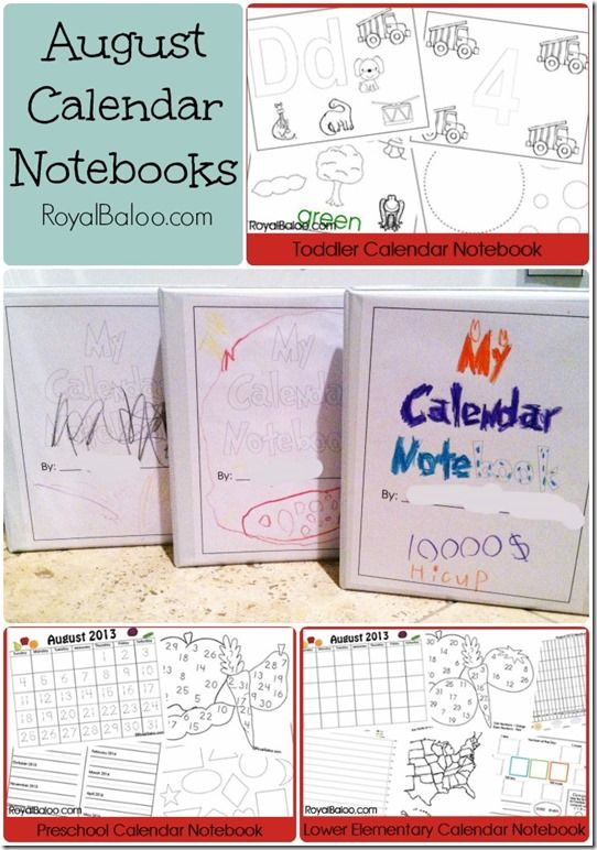 Free Calendar Notebook Printable Sets for Toddler, Preschool, & Early Elementary