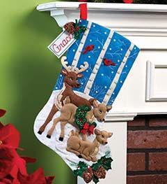 Bucilla ® Seasonal - Felt - Stocking Kits - Deer Family | Plaid Enterprises