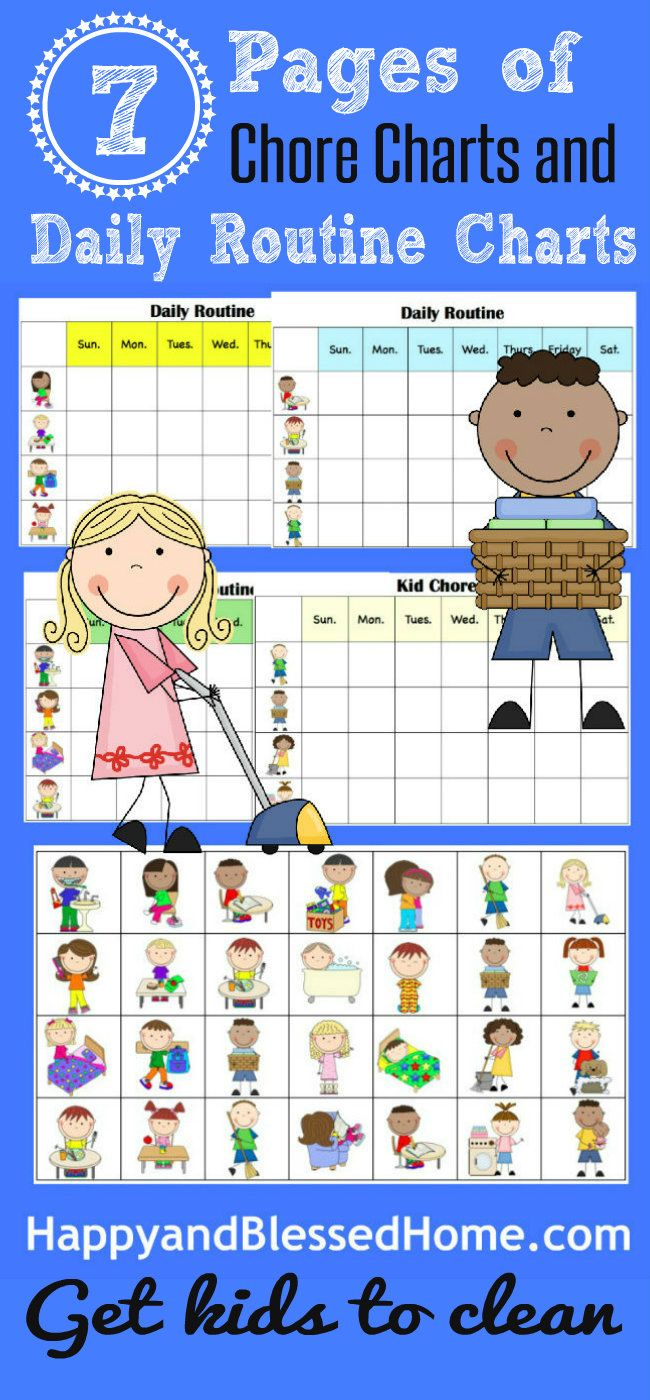FREE Chore Charts to help get Kids to Clean with cleaning tips from HappyandBlessedHome.com