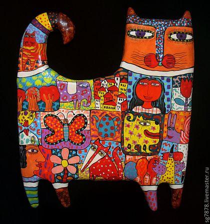 Животные ручной работы. Ярмарка Мастеров - ручная работа. Купить Кот смотрящий. Handmade. Коты, скульптура, красота, надглазурные краски