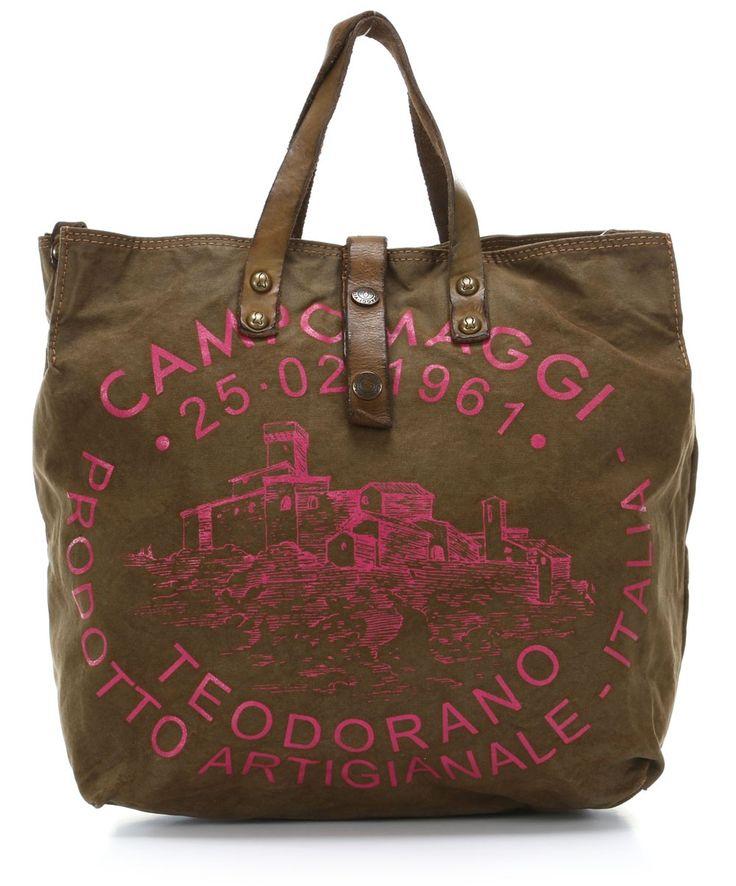 Campomaggi Lavaggio Stone Teodorano Handbag khaki 33 cm - C1389TVVLTC-2482 - Designer Bags Shop - wardow.com