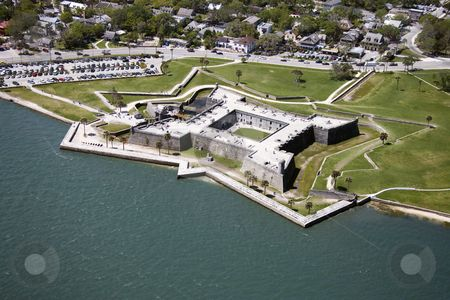 Aerial view of Castillo de San Marcos National Monument in Saint Augustine, Florida. by Iofoto Images