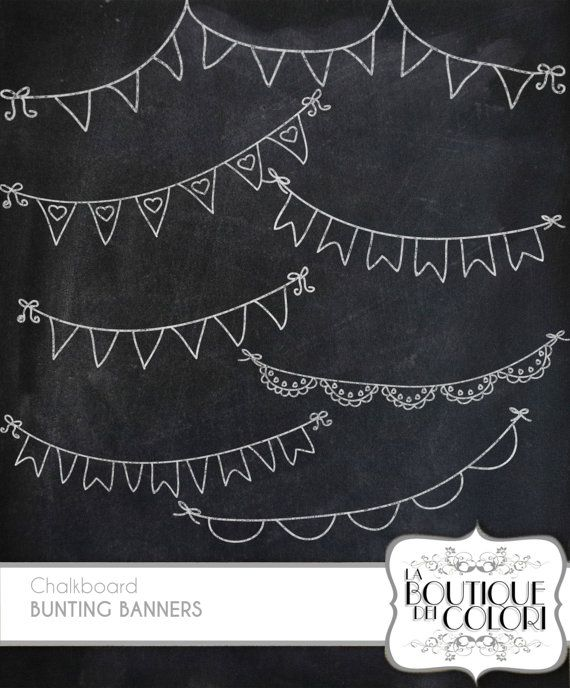 chalkboard Bunting Banners doodle cliparts Digital Clip Art. Party Clipart Printable Download for Personal and Commercial Use. PNG                                                                                                                                                     More