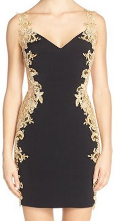 Black cocktail dress with gold lace
