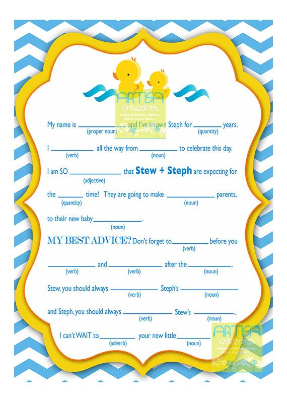 Rubber Duckies Baby Shower Personalized Mad Lib by artisacreations, $11.00