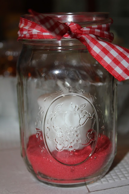 Mason Jar with Candle, centerpiece for Crab Feast!!
