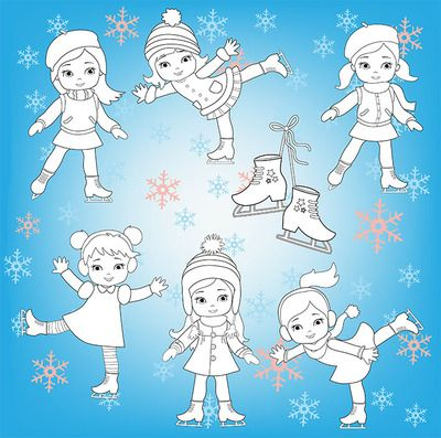 Digital stamp, coloring Winter Ice Skating Clipart Girls from Sandydigitalart on TeachersNotebook.com - (23 pages) - Digital stamp, coloring Winter Ice Skating Clipart Girls