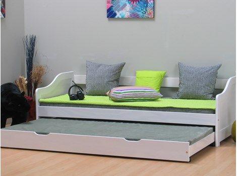 1600 ex madras Leonie enkeltseng 90x200 med ekstra seng inkl. 2 lamelbunde, hvid.