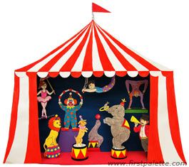 Circus Diorama and Circus Puppet Theater Craft | First Palette - This would be great as table decor at a circus party!