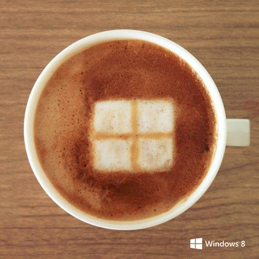 Windows inspired coffee art.