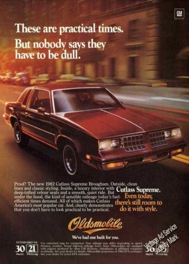 1982 Oldsmobile Cutlass Supreme ad. Had a white one back in high school.