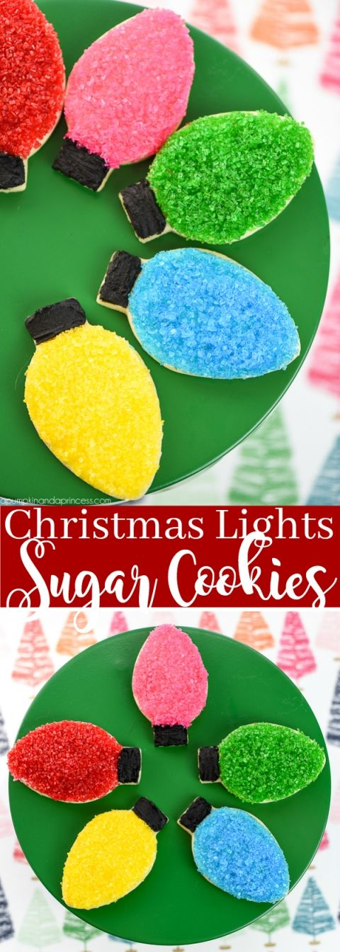 Christmas Light Sugar Cookies – decorate sugar cookies with a classic Christmas light bulb cookie cutter and colorful sprinkles.