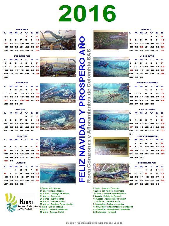 Calendario con óleos alusivos a los tiempos cretácicos. Cortesía de Roca, Corazones y Afloramientos de Colombia, SAS.