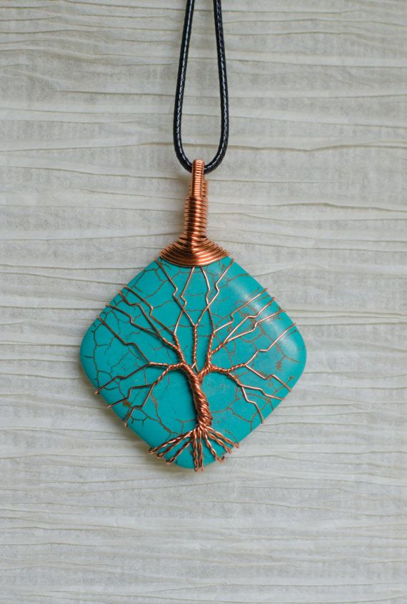 Tree of Life copper wire wrapped natural Turquoise pendant. Pendant is 2 inches in length. All wire used in making this pendant is recycled