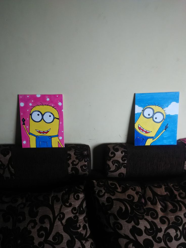 Cool And Colorful Minion Cartoon Painting Done On Canvas Board With Acrylic Colors 2 Paintings