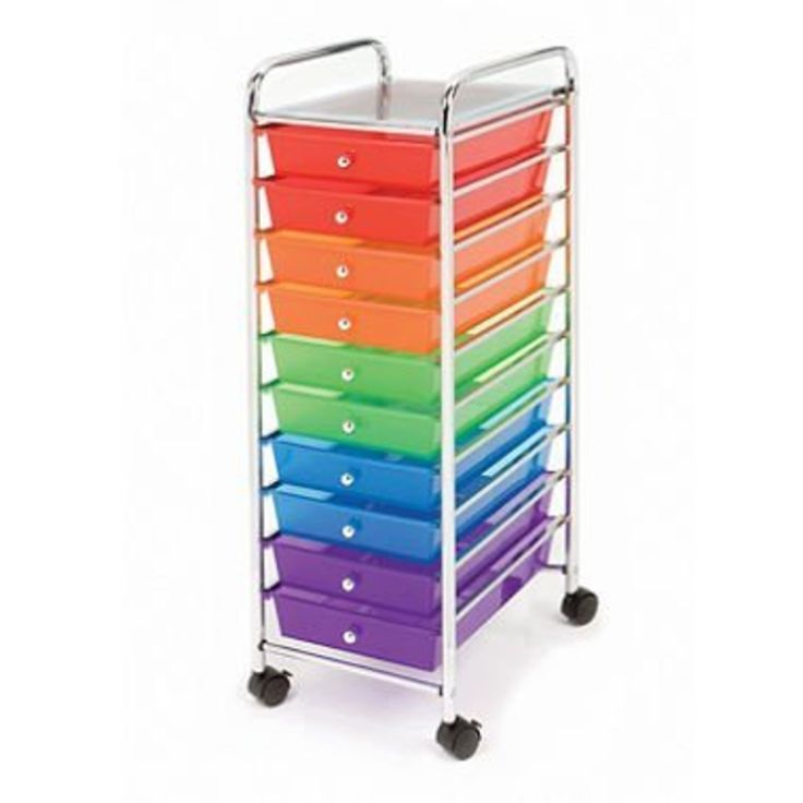 10 Drawer Rolling Cart For Storage   Great For Crafts, Homework, Kitchen  Items And