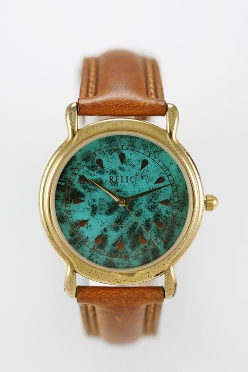 Relic Watch Mens Brown Leather Gold Stainless Water Res Turquoise Black Quartz
