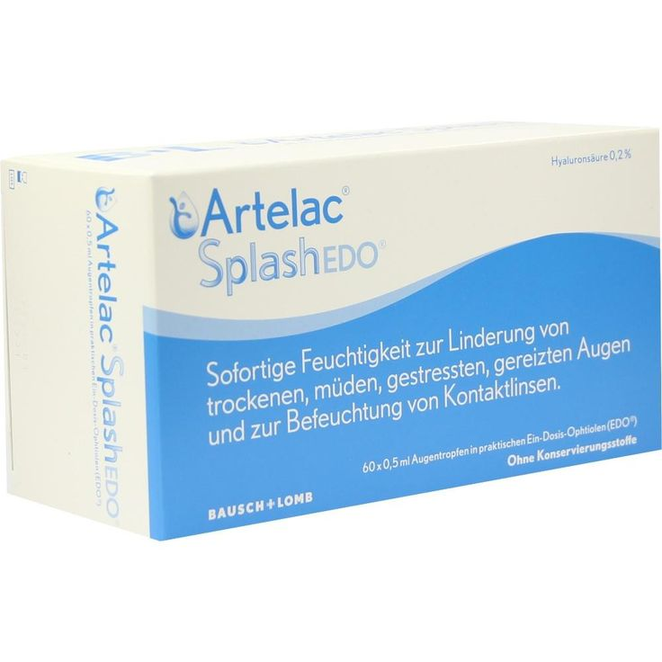 artelac splash edo augentropfen, dr. gerhard mann, künstliche tränen und andere indifferente mittel augentropfen für wohltuende befeuchtung trockene, müde gestresste augen sowie kontaktlinsen