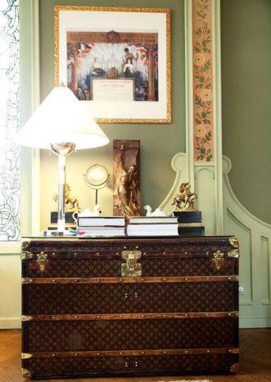 Vintage Louis Vuitton steamer trunk as entryway table!
