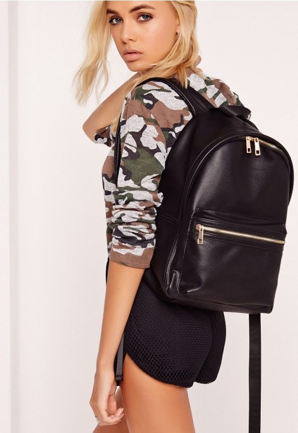 we're totally obsessin' over the rucksack look right now. channel minimal style vibes this season with this totally killer all black rucksack. with gold zip details this one is perfect for holding your essentials.