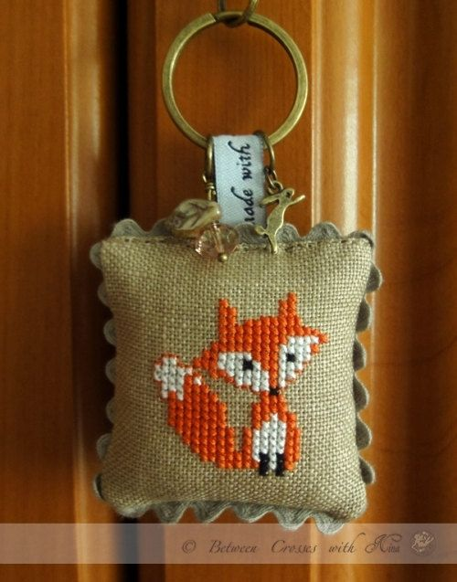 Fox keyring  cross stitched 100 handmade hand by NinasThreads