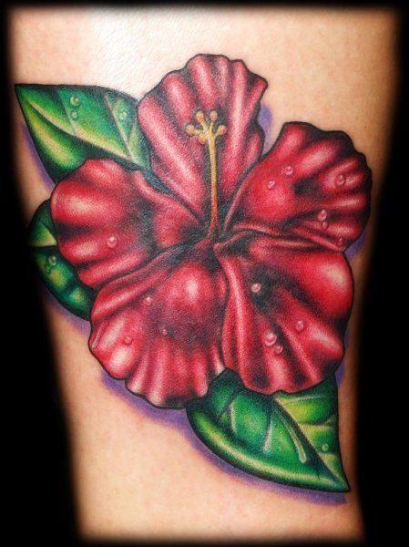 Red Flower Tattoo - Joshua Hibbard http://tattoosflower.com/red-flower-tattoo/