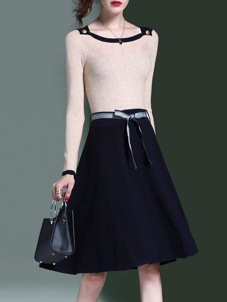 Shop Midi Dresses - Apricot A-line Long Sleeve Midi Dress online. Discover unique designers fashion at StyleWe.com.