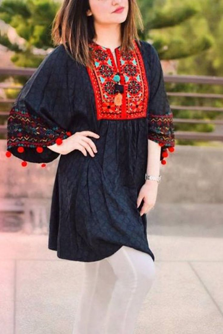 Lawn Short Frock Design 2020 Jhabla Style Kurti Summer Casual Short Frock Kurti Pakistan… in ...